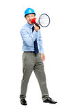 Businessman shouting with megaphone on white background Royalty Free Stock Image
