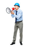 Businessman shouting with megaphone on white background Stock Images
