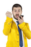 Businessman shouting into the phone. Business man shouting into the phone Royalty Free Stock Photography