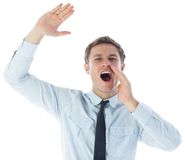 Businessman shouting and waving Royalty Free Stock Photos