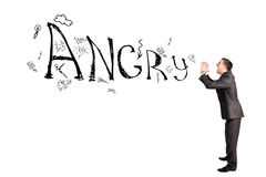 Businessman shouting word angry Royalty Free Stock Images