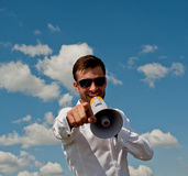 Businessman shouts Royalty Free Stock Photography
