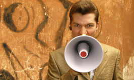 Businessman shouts Royalty Free Stock Image