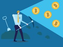 Businessman with shovel and pickaxe working in bitcoin mine. Vector illustration Royalty Free Stock Photos