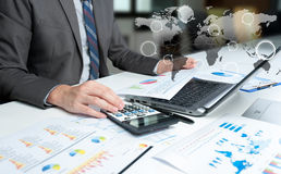 Businessman show analyzing report, business performance Royalty Free Stock Photos