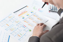 Businessman show analyzing report, business performance Stock Image