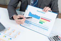 Businessman show annual report, business performance concept Royalty Free Stock Photography