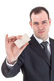 Businessman show blank card Stock Images
