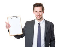 Businessman show with blank clipboard Royalty Free Stock Photo
