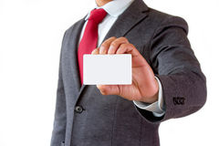 Businessman show business card Stock Photos