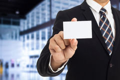 Businessman show business card Stock Images