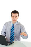 Businessman show calming down sign. Businessman with laptop showing calming down sign - isolated Royalty Free Stock Image