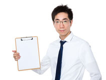 Businessman show with clipboard. Isolated on white background Royalty Free Stock Photos