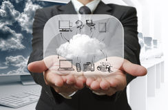 Businessman show cloud network Stock Image