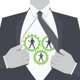 Businessman show cogwheel mechanism on his chest. People in cogwheel mechanism. stock illustration