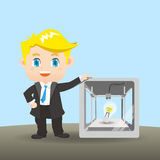 Businessman show 3D printer. Cartoon illustration businessman with the 3D printer Royalty Free Stock Photos