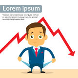 Businessman Show Empty Pocket Cry Financial Crisis. Graph Fall Down Red Arrow Flat Vector Illustration Stock Images