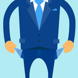 Businessman Show Empty Pocket, Turning Inside Out. No Money Flat Vector Illustration Stock Photo