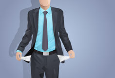 Businessman Show Empty Pocket, Turning Inside Out Royalty Free Stock Images