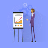 Businessman show graph flat design vector Royalty Free Stock Photography