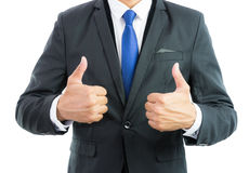 Businessman show hand with thumb up isolate Royalty Free Stock Photo