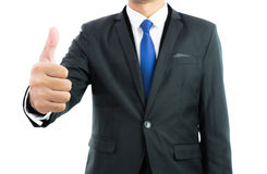 Businessman show hand with thumb up isolate Stock Images