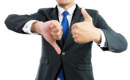 Businessman show hand with thumb up isolate Royalty Free Stock Images