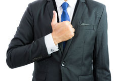 Businessman show hand with thumb up isolate Stock Photography