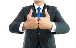 Businessman show hand with thumb up isolate Royalty Free Stock Photos