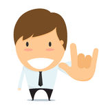 Businessman Show Hands I Love You Sign Language. Stock Photo