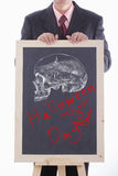 Businessman show his art of halloween day Royalty Free Stock Photo
