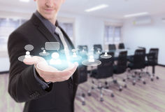 Businessman show meeting in a virtual space conceptual business Royalty Free Stock Image