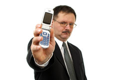 Businessman show  mobile phone Stock Photos