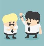 Businessman show new smart watch cartoon illustration flat desig Royalty Free Stock Images