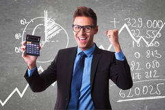Businessman show a positive  number of tax Royalty Free Stock Photography
