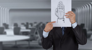 Businessman show poster of  Hand raised Stock Photography