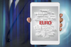Businessman show screen about Euro currency Stock Photos
