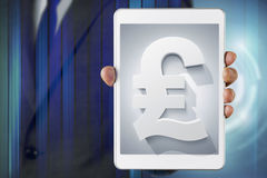 Businessman show screen about Sterling currency. Symbol royalty free stock photos