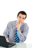 Businessman show silence sign Royalty Free Stock Image