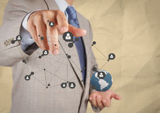 Businessman  show social network structure with crumpled recycle Royalty Free Stock Photo