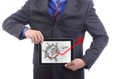Businessman Show travel around the world concept Stock Photography