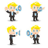 Businessman show trumpet. Cartoon set of Businessman show trumpet and , caucasian Royalty Free Stock Image