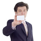 Businessman show visiting card Stock Images