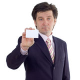 Businessman show visiting card Stock Photos