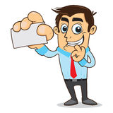 Businessman show visiting card. With enthusiasm Stock Image