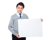 Businessman show with white board. Isolated on white background Royalty Free Stock Photos
