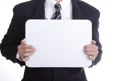 Businessman show white board for your add massage Stock Photo