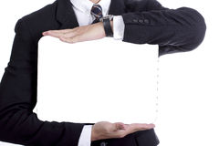 Businessman show white board for your add massage Stock Image