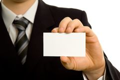 Businessman showing a blank business card Royalty Free Stock Photos