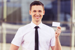Businessman showing blank business card Stock Photography